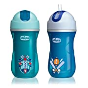 Chicco Insulated Flip-Top Straw Sippy Cup 9oz 12m+ (2pk) - Teal/Blue