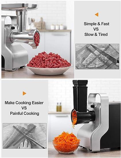 AICOK MG2950R - Picadora de carne eléctrica, 5 en 1, 2500 W, máquina de salchichas, cortador de verduras, prensa de tomates, 3 discos perforados de acero inoxidable, cúbica, accesorio para embutidos, 4,5