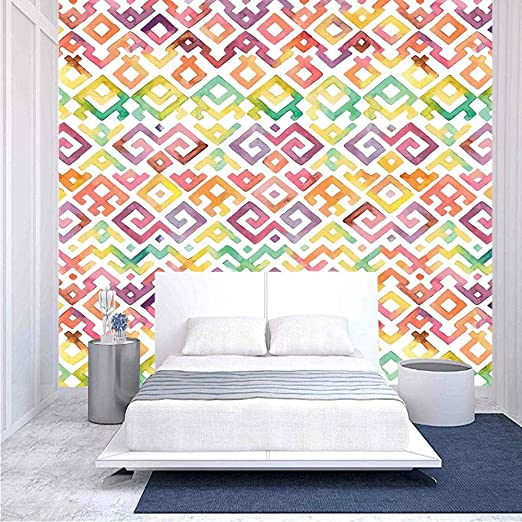 Amazon Com 96x69 Inches Wall Mural Watercolor Ethnic Traditional Tribal Aztek Patterns South Asian Culture Indie Artsy Peel And Stick Self Adhesive Wallpaper Removable Large Wall Sticker Wall Decor For Home Offi Home Kitchen