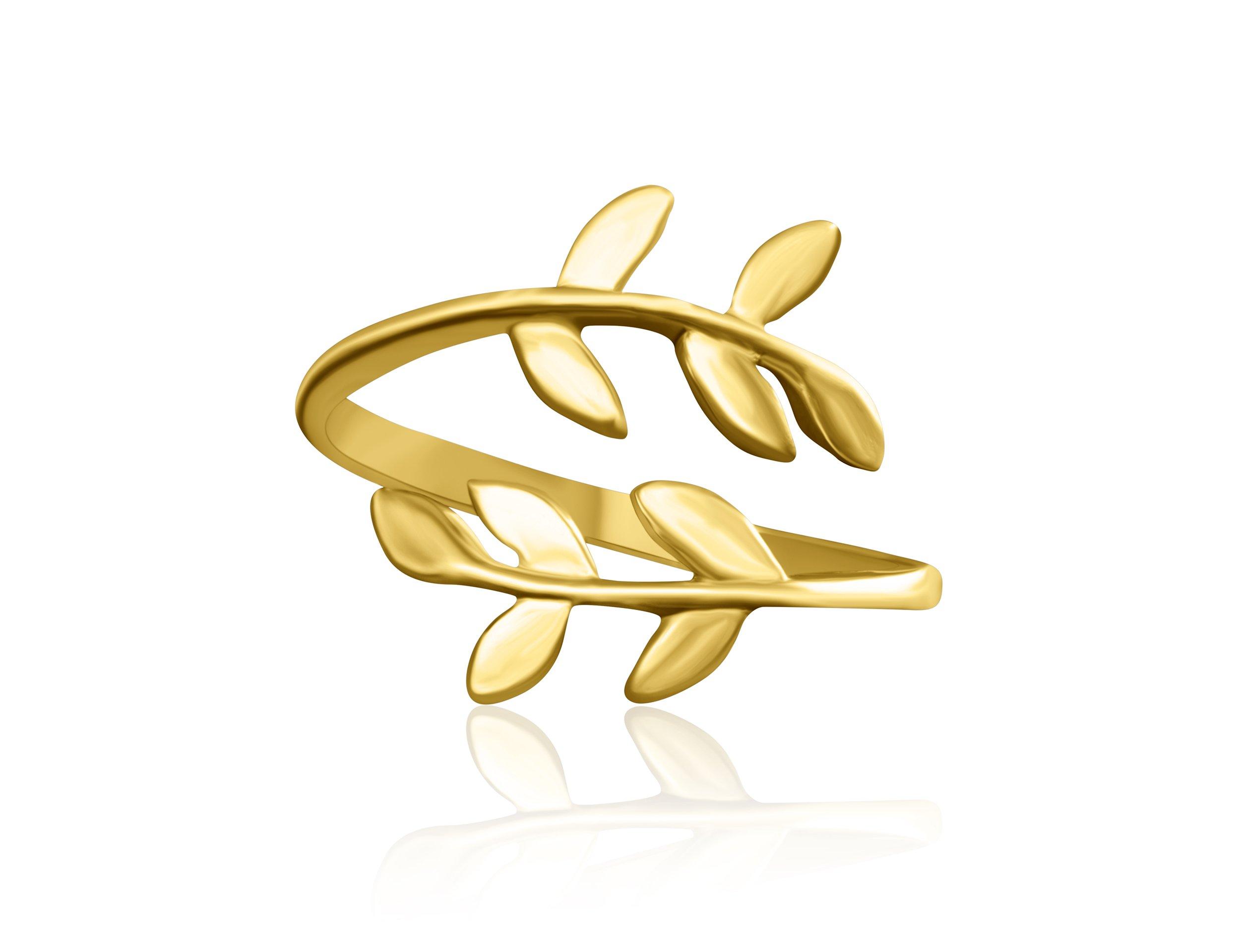 ONDAISY 14K Matte Gold Plated Bff Best Friends Bohemian Boho Jewelry Tree Flower Leaves Laurel Leaf Knuckle Toe Adjustable Band Ring