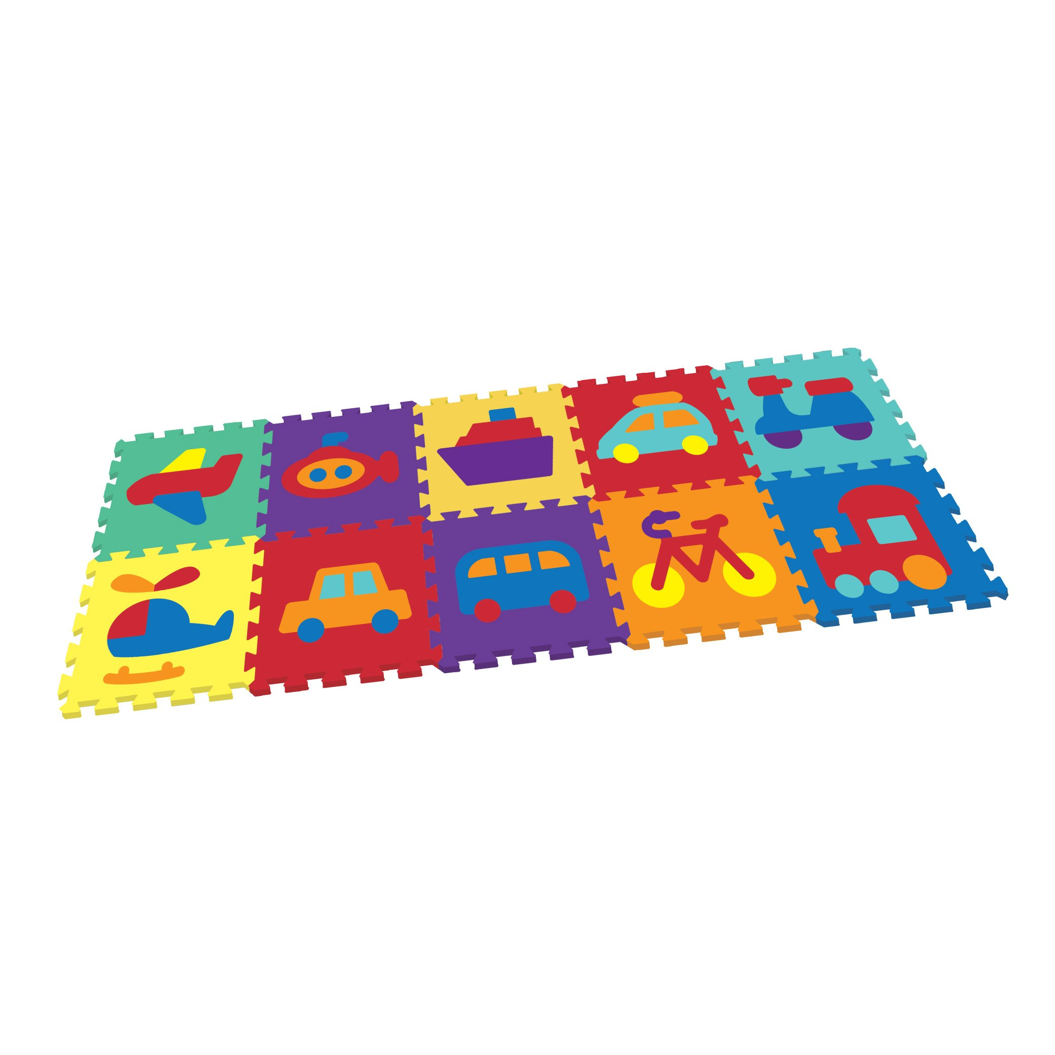 Vehicle Rubber EVA Foam Puzzle Play Mat Floor. 10 Interlocking playmat Tiles (Tile:12X12 Inch/36 Sq.Feet Coverage). Ideal Crawling Baby, Infant, Classroom, Toddlers, Kids, Gym Workout
