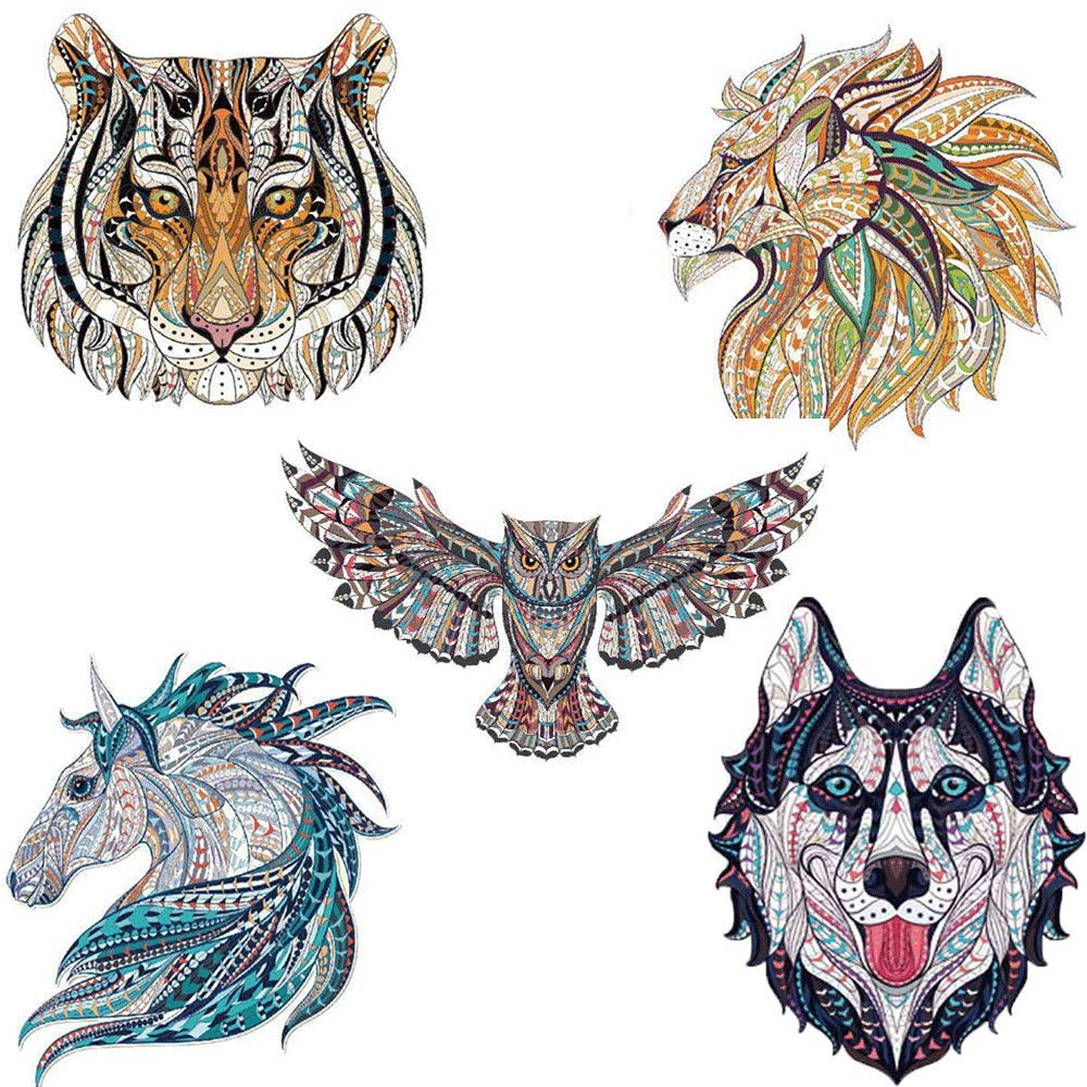 Jocab Heat Transfer Patch 3D Animal Hot Painting Wash Water Print Thermal Transfer Pattern for DIY Mark T-shirt Bags, Hats(Different Aniamls) (50Pcs) by Jocab