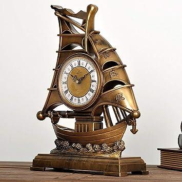 Eeayyygch Reloj de Mesa de Vela Europea Vintage/Reloj de Mesa Decorativo/ Relojes y Relojes de Barco Antiguo salón Adornos de Reloj (Color : Do, ...