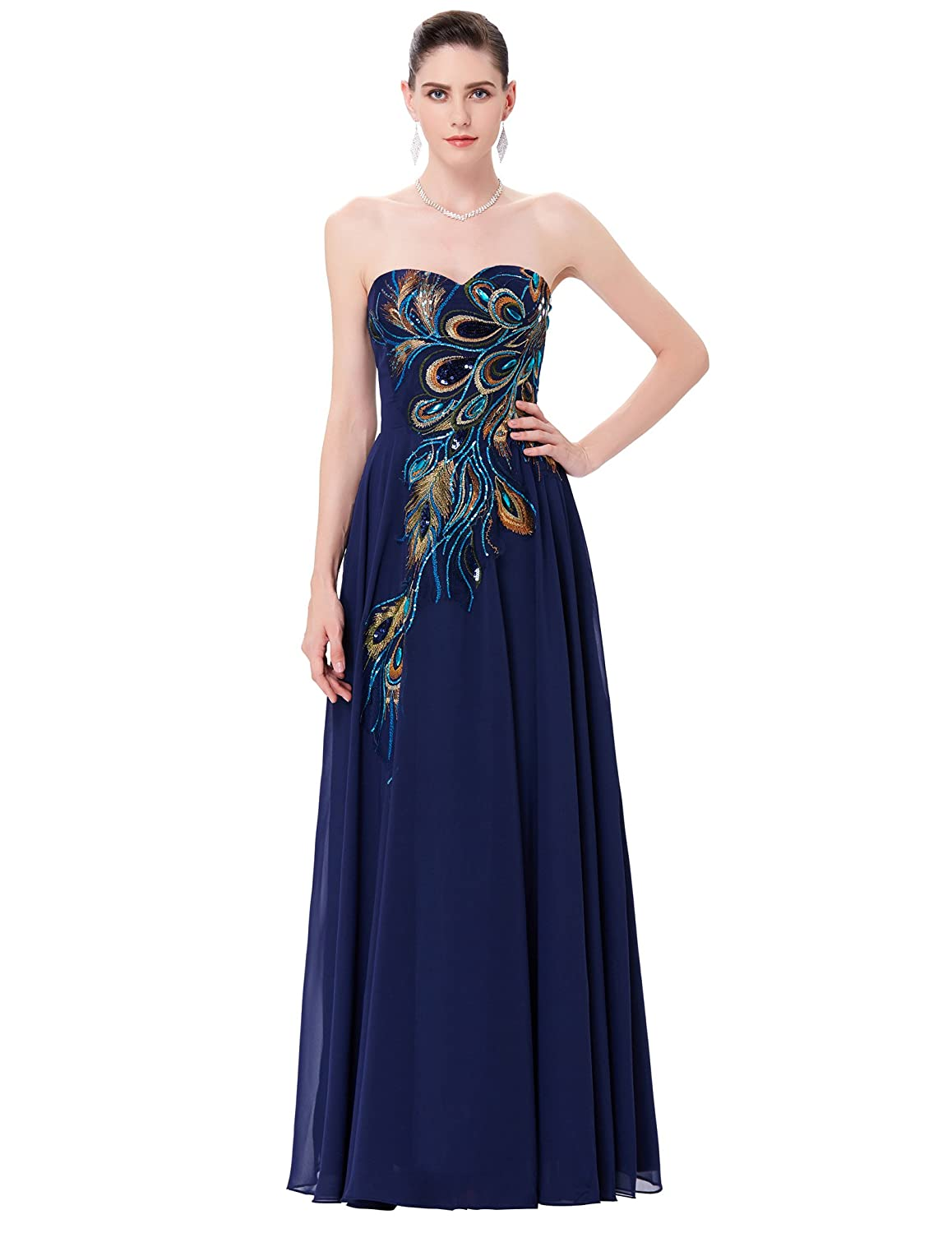 3290e13bfb15 Amazon.com: GRACE KARIN Long Strapless Embroidery Prom Dress A-line CL6168  (Multi-Colored): Clothing