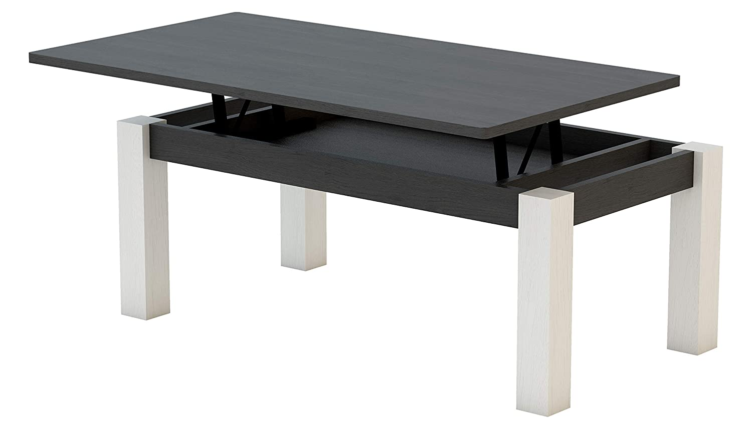 KR Decor MZ444 Mesa de Centro elevable Rectangular, Roble, Negro Madera/Blanco Artic, 100x50x42.2 cm