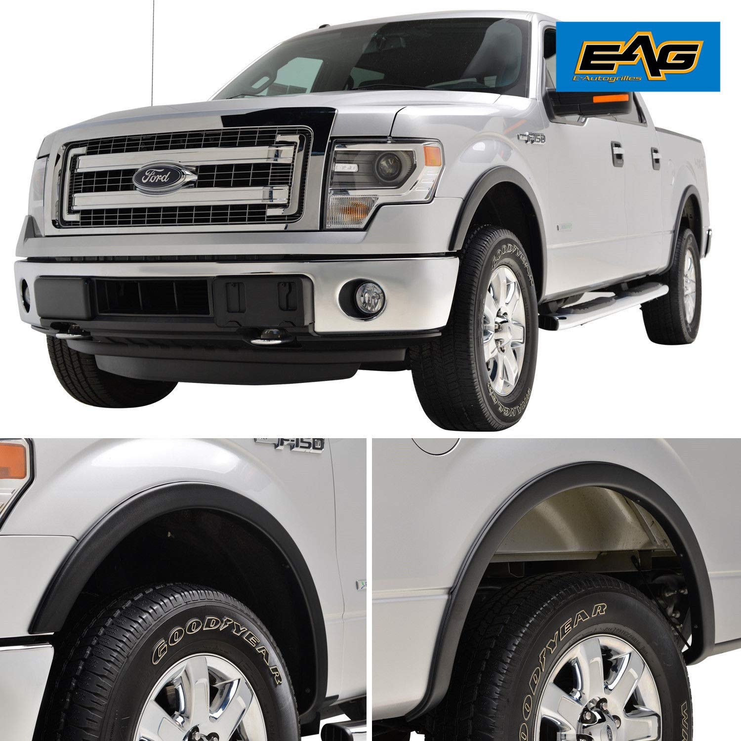 EAG Fender Flares Satin Black Styline Series Fit for 09-14 Ford F-150