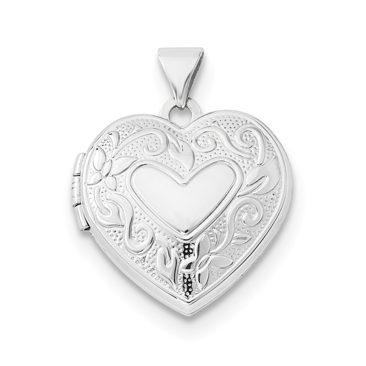 Roy Rose Jewelry 14K White Gold 18mm Heart Locket by Roy Rose Jewelry