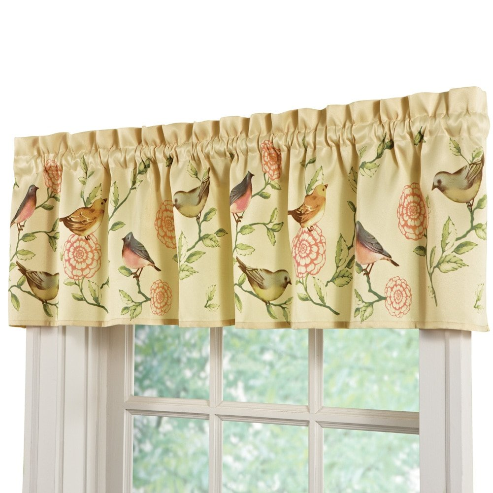 Springtime Birds And Blooms Rod Pocket Window Valance, Green