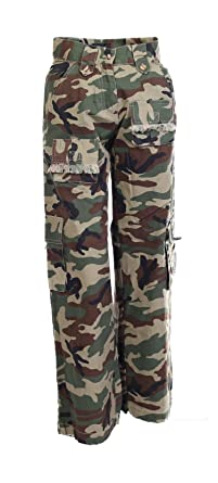 e045dc809b Lets Shop Shop Girls Kids Army Military Combat Camouflage Cargo Trousers  Pants Bottom 7 To 14