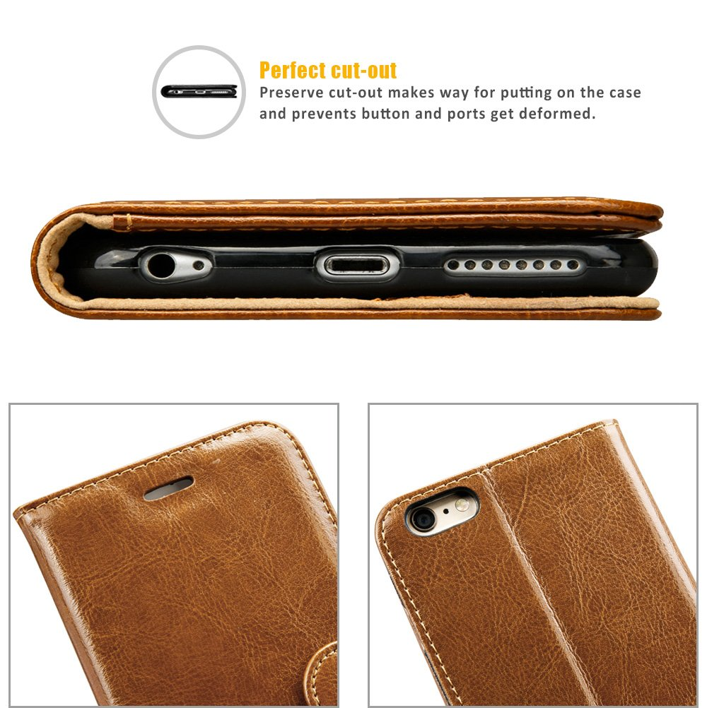 iPhone 6S Plus Wallet Case, Labato Genuine Leather Folio Flip Case Cover Magnetic Stand Function with Card Slots/Cash Compartment for Apple iPhone 6 Plus/ 6S Plus 5.5''- Brown (lbt-I6U-05Z20) by Labato (Image #8)