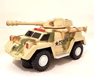ATS Bump & Go Battery-Operated Armored Truck Hummer Tank Army Military SUV Car Machine Gun Turret with Light & Sound/Music