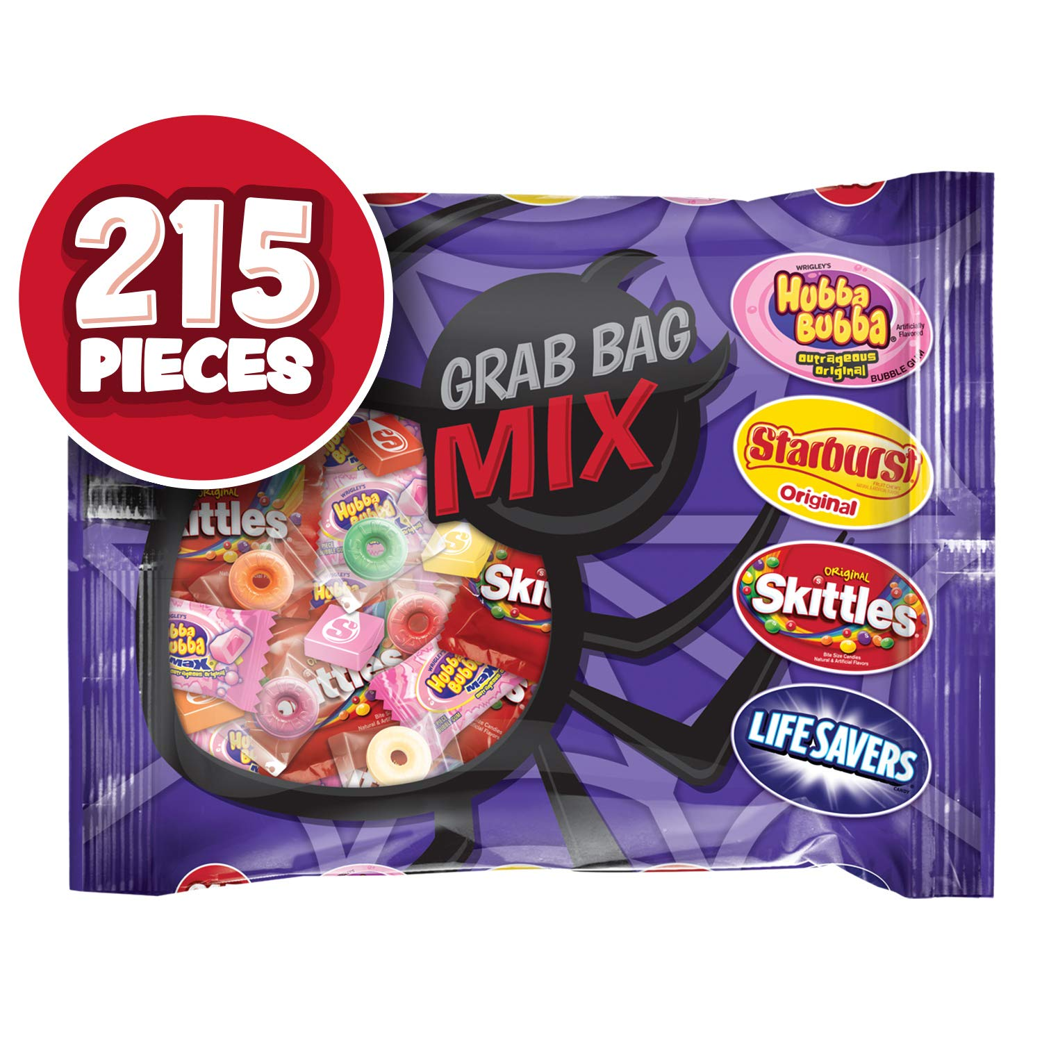 STARBURST, SKITTLES, LIFE SAVERS & HUBBA BUBBA Halloween Candy Fun Size Variety Mix, 82.98 Ounces, 215 Pieces by Assorted Wrigley