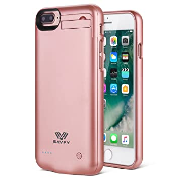 SAVFY Funda Batería iphone 7 Plus, 4000mAh Ultra Delgado Cargador Batería Carcasa Protectora para Apple iPhone 7 Plus, Rosad