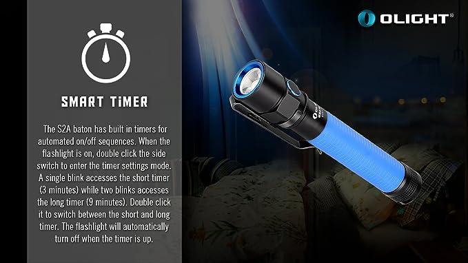 Olight S2A bastón linterna Cree XM-L2 LED 550 lúmenes con gris de batería AA