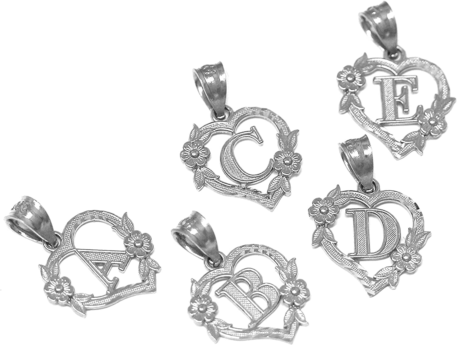 Letter A CaliRoseJewelry 10k Beautiful Initial Heart Pendant for Women in White Gold