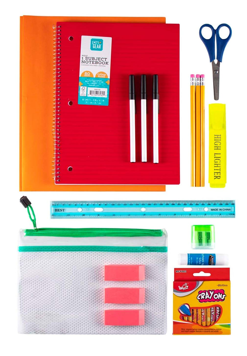 20 Piece Wholesale Kids School Supply Kit Bulk Case of 24 Pack Bundle