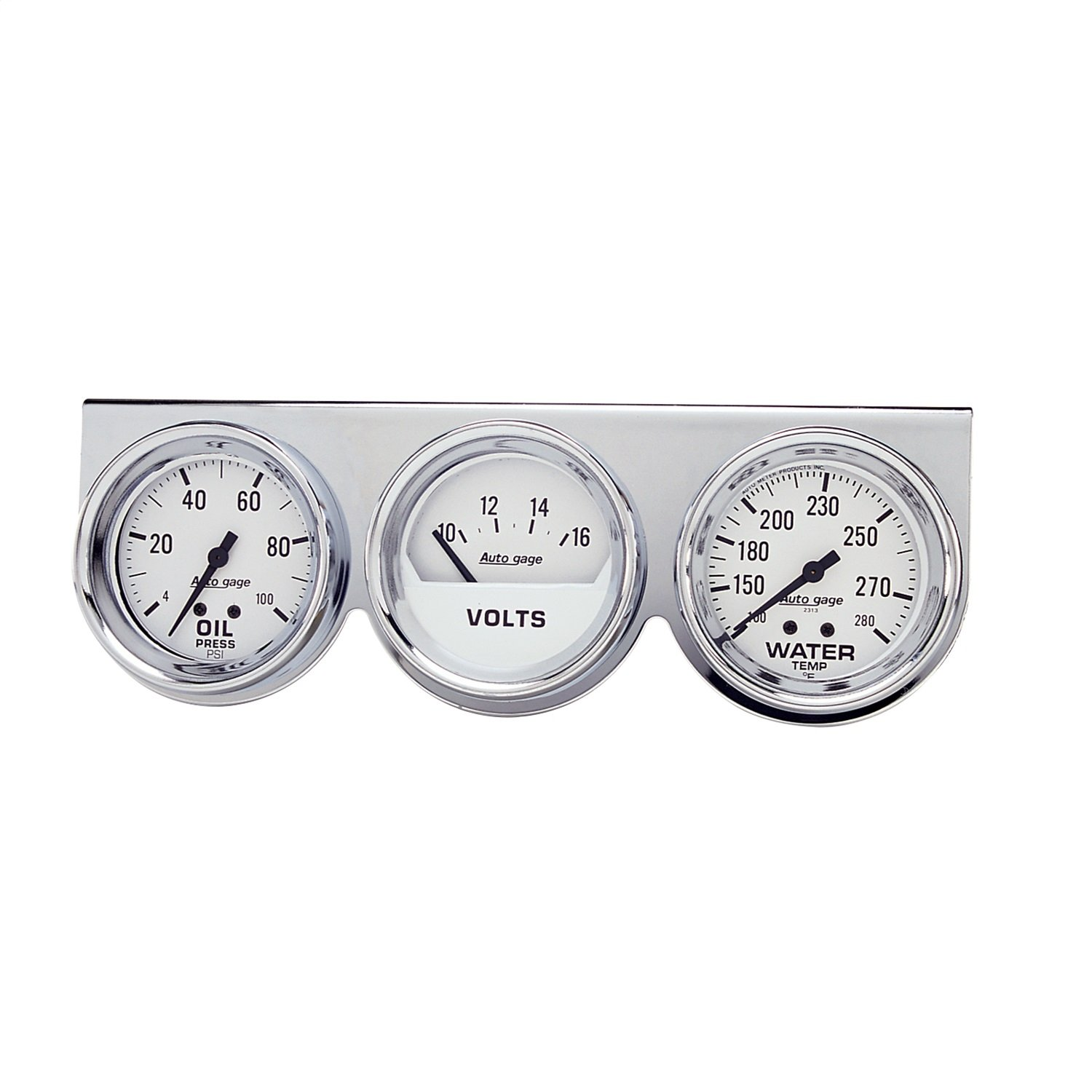 Auto Meter 2329 Autogage Mechanical White Oil//Volt//Water Gauge with Chrome Console