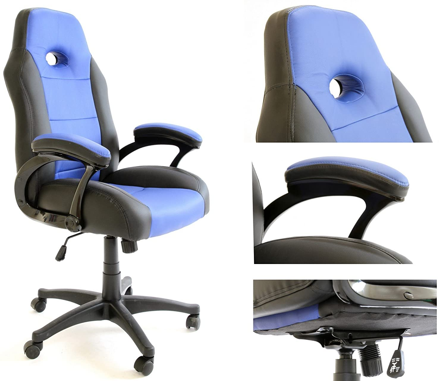 Charles Jacobs Gaming CHAIR in Black & Blue PREMIUM QUALITY Luxury