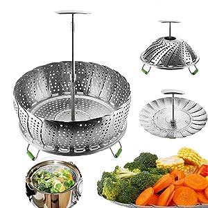 Instant Pot Vegetable Steamer Basket for 6, 8 Quart, Instant Pot Accessories, Stainless Steel Steamer Food, Veggie Steamer Insert for Pressure Cooker, Compatible Steamer Basket Accessories steam