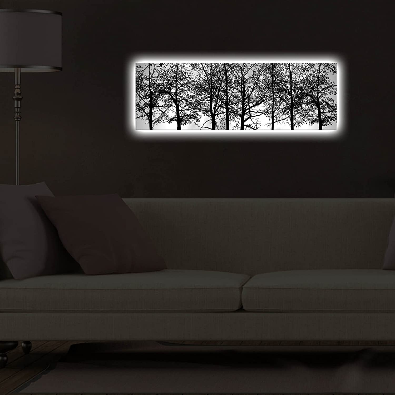 Wooden Thick Frame Painting Thin Trees and Branches - Battery Operated Forest White Led Lighted Canvas Wall Art Dorm LaModaHome 254LED3270 Wall Hanging for Living Room Size Black 11.5 x 35 Bedroom