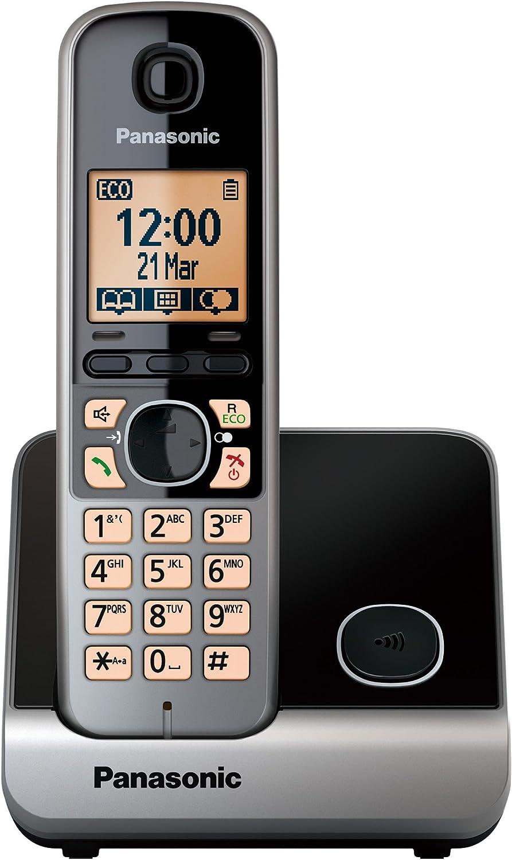 Panasonic KX-TG6711 - Teléfono (DECT, Polifónico, Negro, Pared, Digital, 100 entradas): Amazon.es: Electrónica