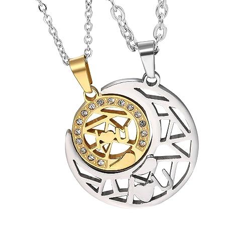 Cupimatch Collar Luna con 2 Cadenas Sol Acero Inoxidable Buen Regalo para Madre y Hija Regalo para Amor