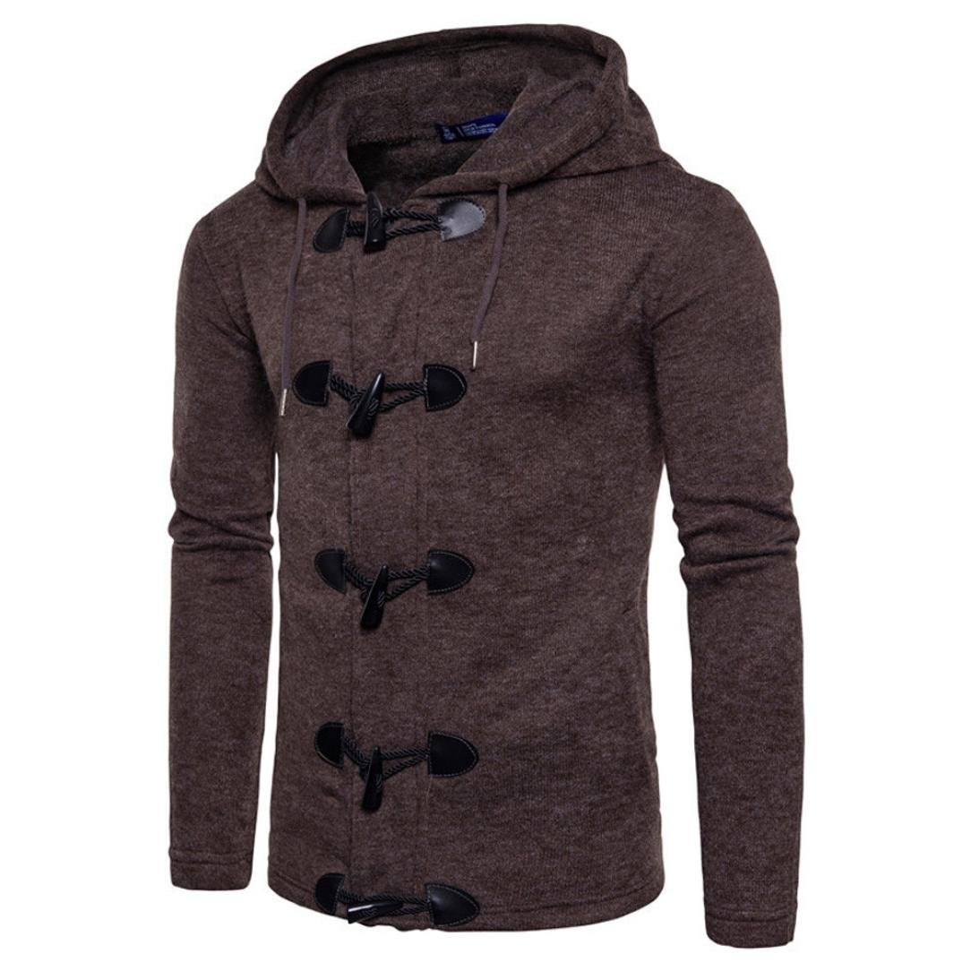 Autumn Winter Fashion Button Down Knitted Men Slim Designed Hooded Top Men's Cardigan Coat Jacket (Coffee, M)