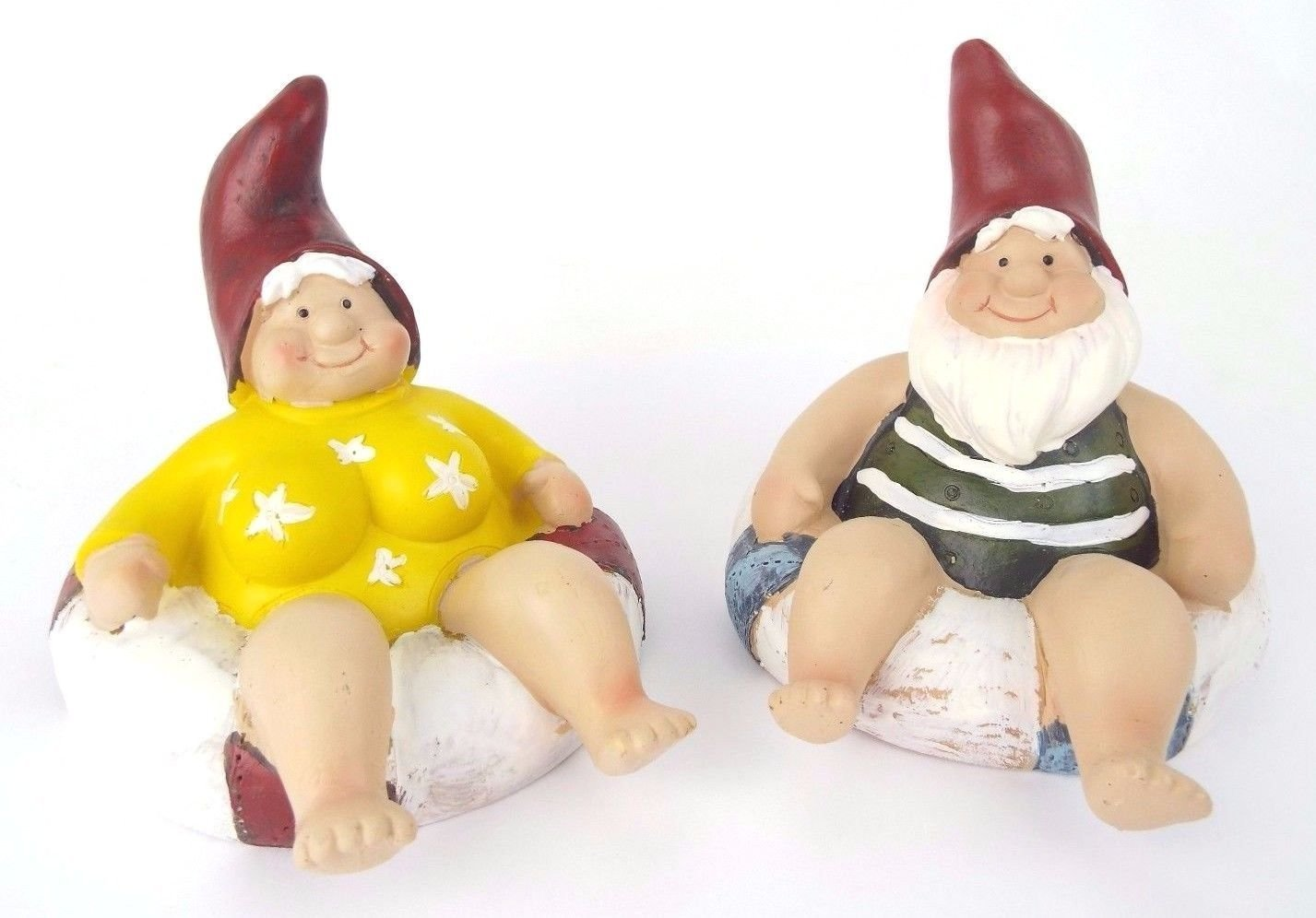 Pair Of Floating Pond Floaters Garden Gnomes Lady & Man - Novelty Item Matalan