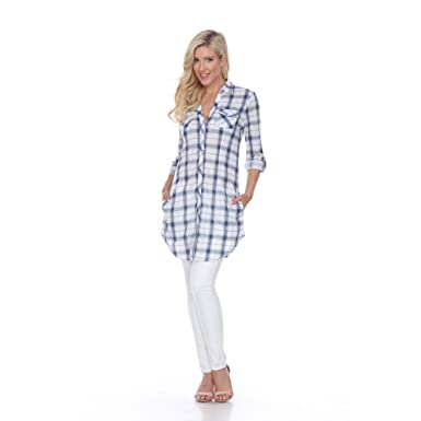 3ed28d0feb6 Amazon.com  Mili Women s Extra Long Style Plaid Button Down Collared ...