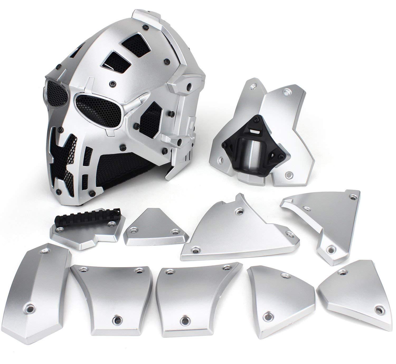 Tactique Airsoft Casque Complet de Protection Masque Lunettes de Chasse Paintball Militaire Moto Jeux de r/ôle