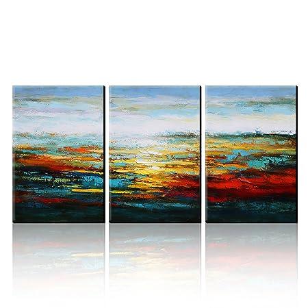 AONBAT Oil Paintings Canvas Art Wall Decor Modern- 3 Pieces Landscape Paintings On Canvas -  sc 1 st  Amazon UK & AONBAT Oil Paintings Canvas Art Wall Decor Modern- 3 Pieces ...