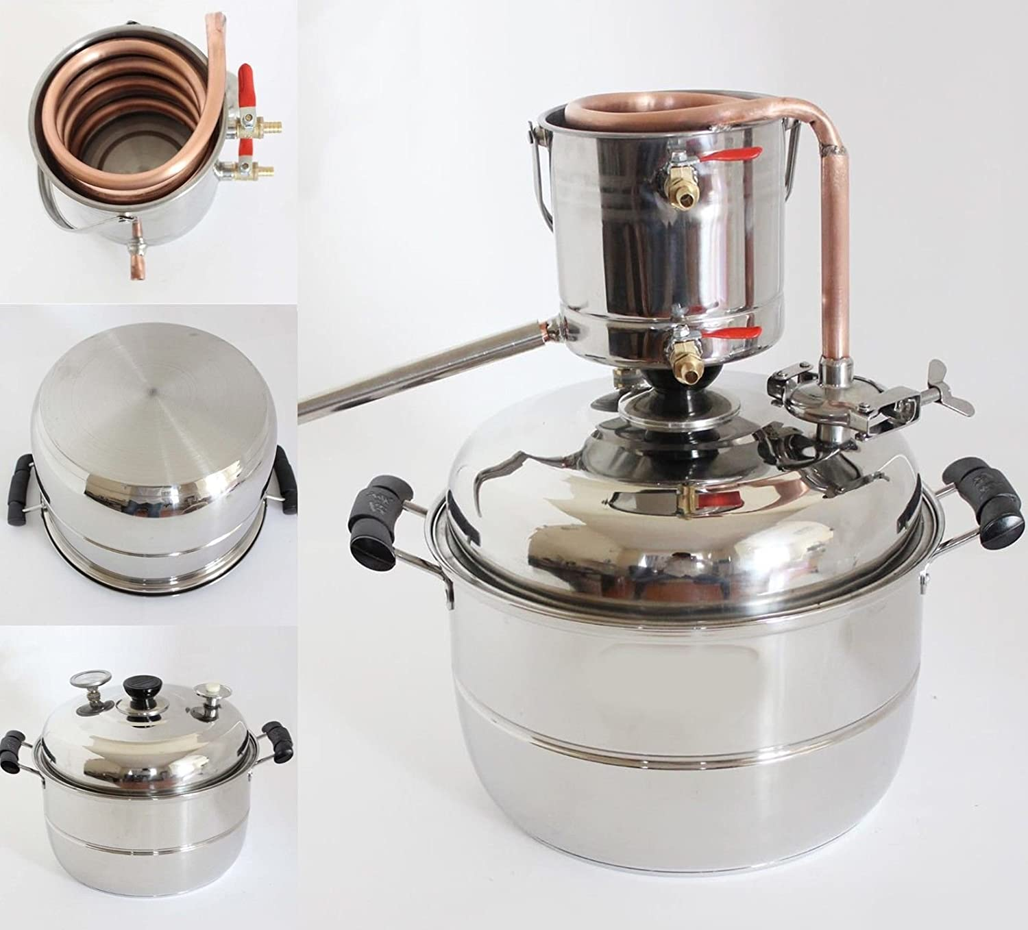 New Stainless/Copper Home 10L Litres Wine Making Moonshine Still Water Alcohol Distiller Brandy Grape Wine Vodka White Spirit Essential Oil Pure Dew Brew Kits With Water Pump Thermometer WMN_TRULYSTEP