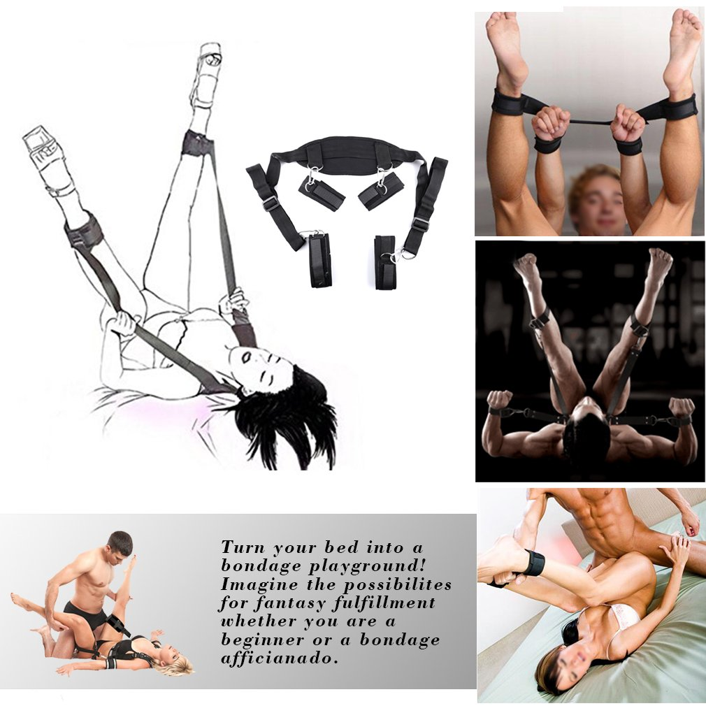 Bed Restraints Sex Bondage Kit SM BDSM S&M Leg Restraint System with Handcuffs Ankle Cuffs Whips Ball Gag Adults Fetish Sex Toys Sex Restraining Sets Gifts for Couples Men Women by Popbbie (Image #7)