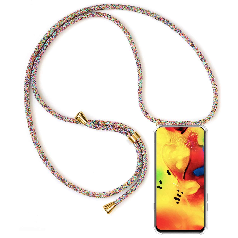 Ultrafina Suave TPU Carcasa de movil con Colgante Anti-rasgu/ños Anti-Choque - Multicolor Moda y Practico XTCASE Funda con Cuerda para Motorola Moto G6 Plus Silicona Transparente