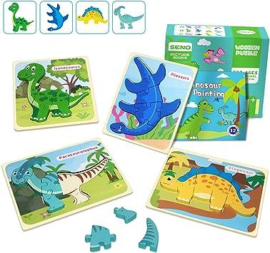 IMMEK Dinosaurios Puzzle de Madera Juguetes Bebes para Niños de 1 2 3 4 5 Años Montessori Educativos Regalos 3D Animales Patrón Puzles 4 Piezas con Libro Pintura de 12 Páginas, Multicolor: Amazon.es: Juguetes y juegos