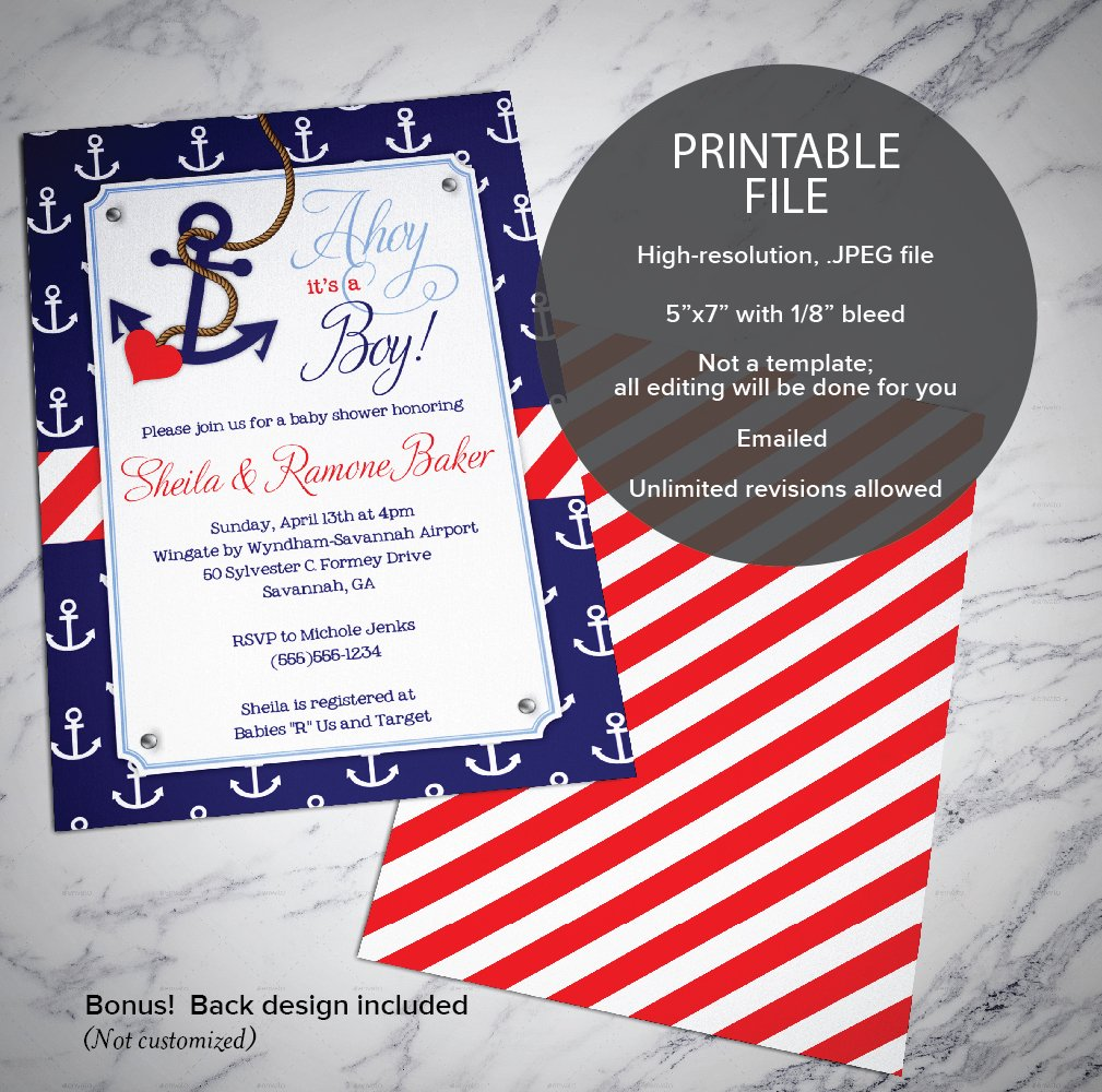 Amazon.com: Nautical Baby Shower Invitations BOY | Anchor Themed ...