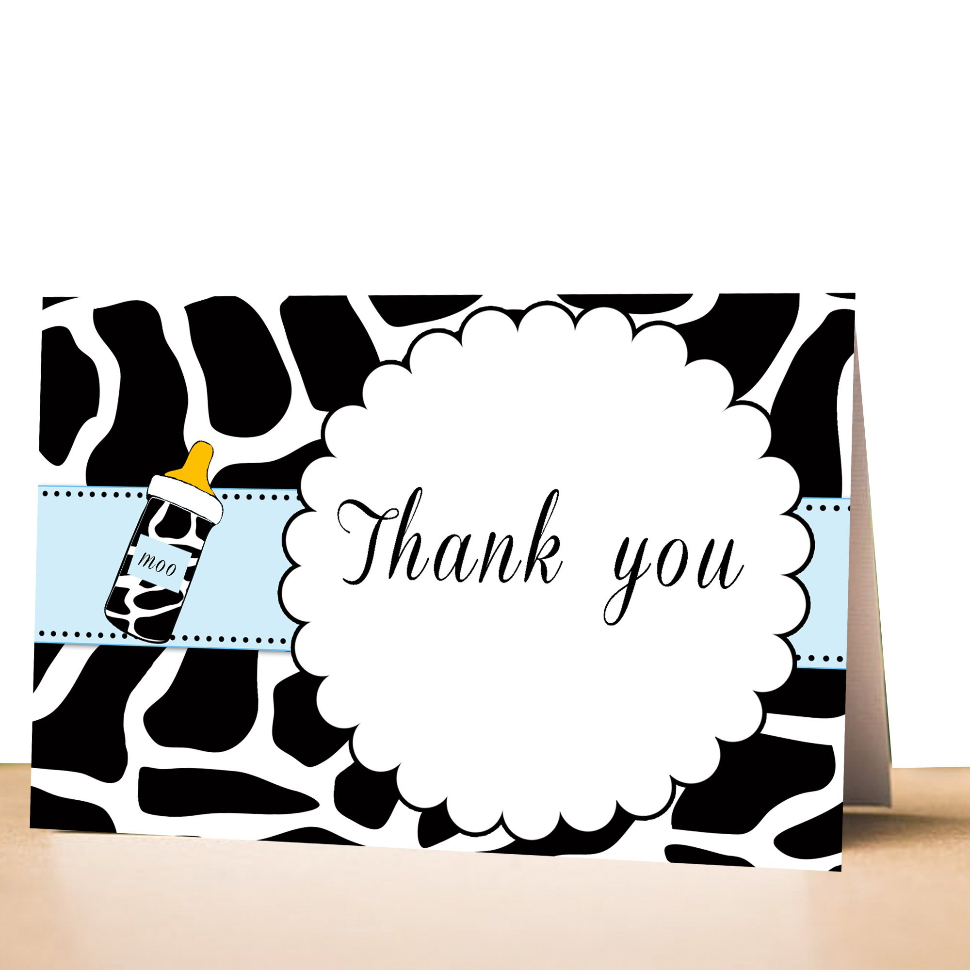 50 Thank You Cards Animal Print Blue + Envelopes