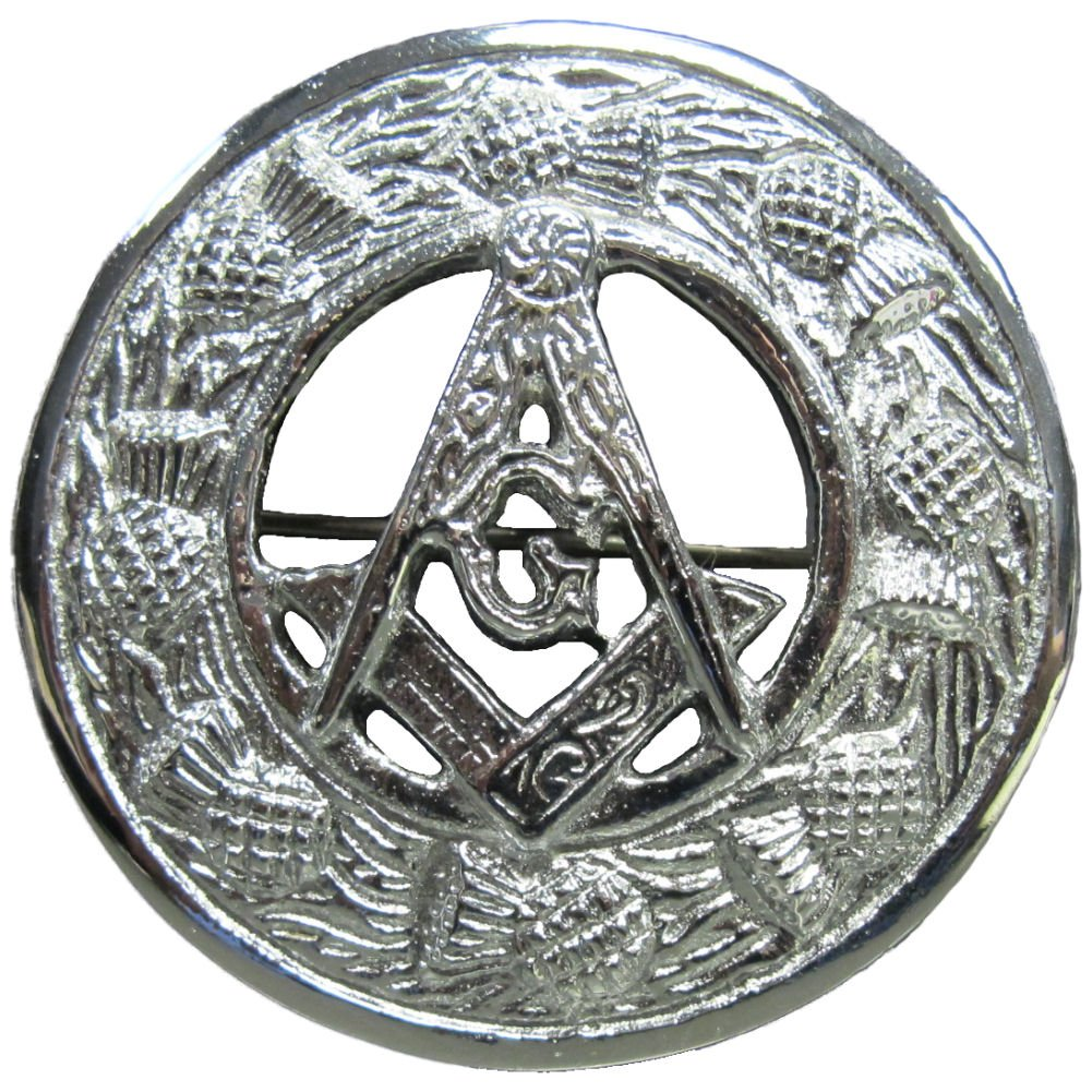 Tartanista - É pingle de kilt/broche pour plaid - motif chardon/symbole franc-maç onnique HA-BROOCH_MODEL_C_MASONIC