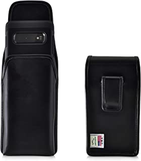 product image for Galaxy S10+ Plus Holster, Turtleback Vertical Galaxy S10+ Plus Belt Case, Black Leather Pouch with Executive Belt Clip, Made in USA