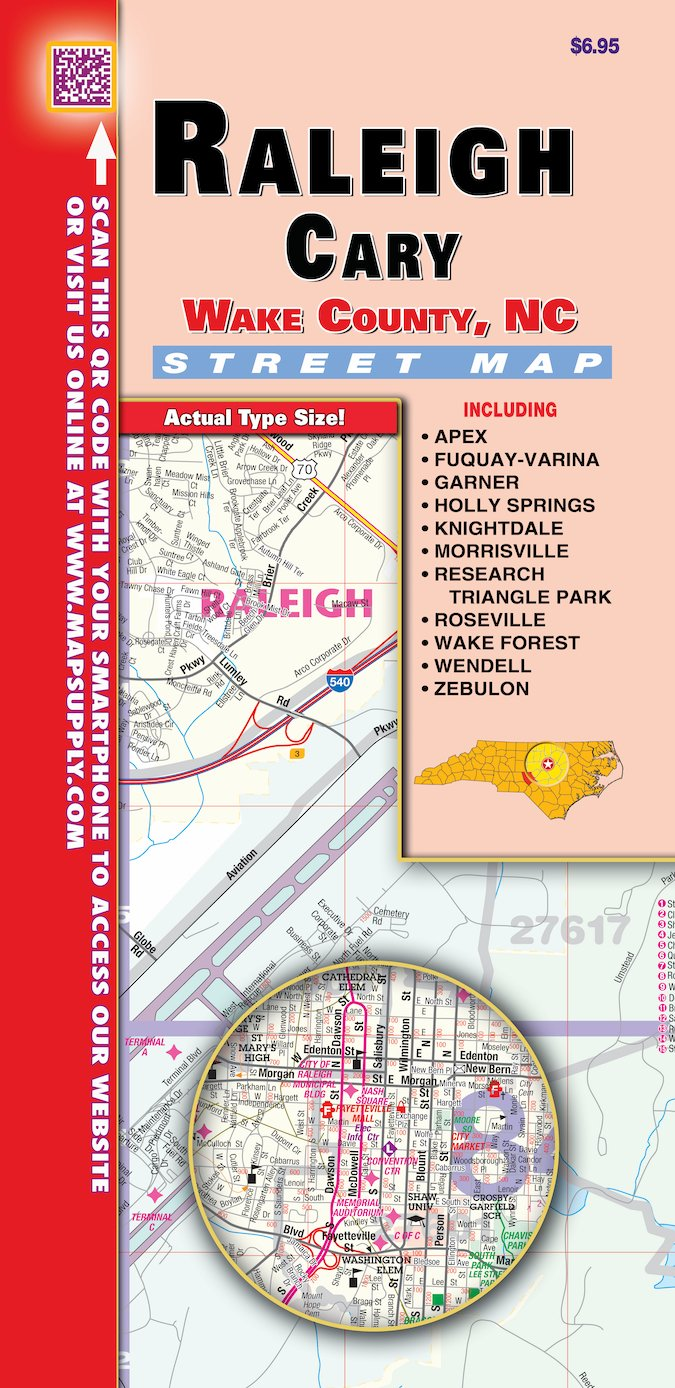 Amazon Com Raleigh Wake County Nc Fold Map Office Products