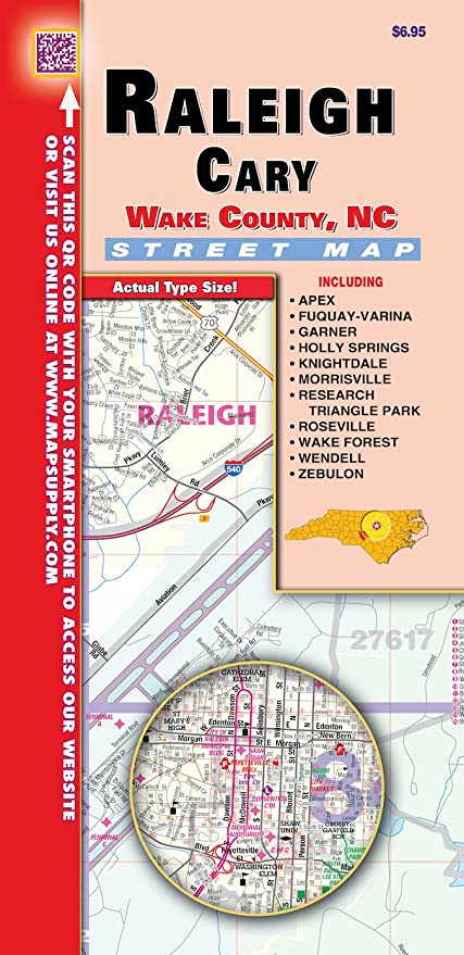 Amazoncom Raleighwake County Nc Fold Map Office Products - Raleigh-nc-on-us-map