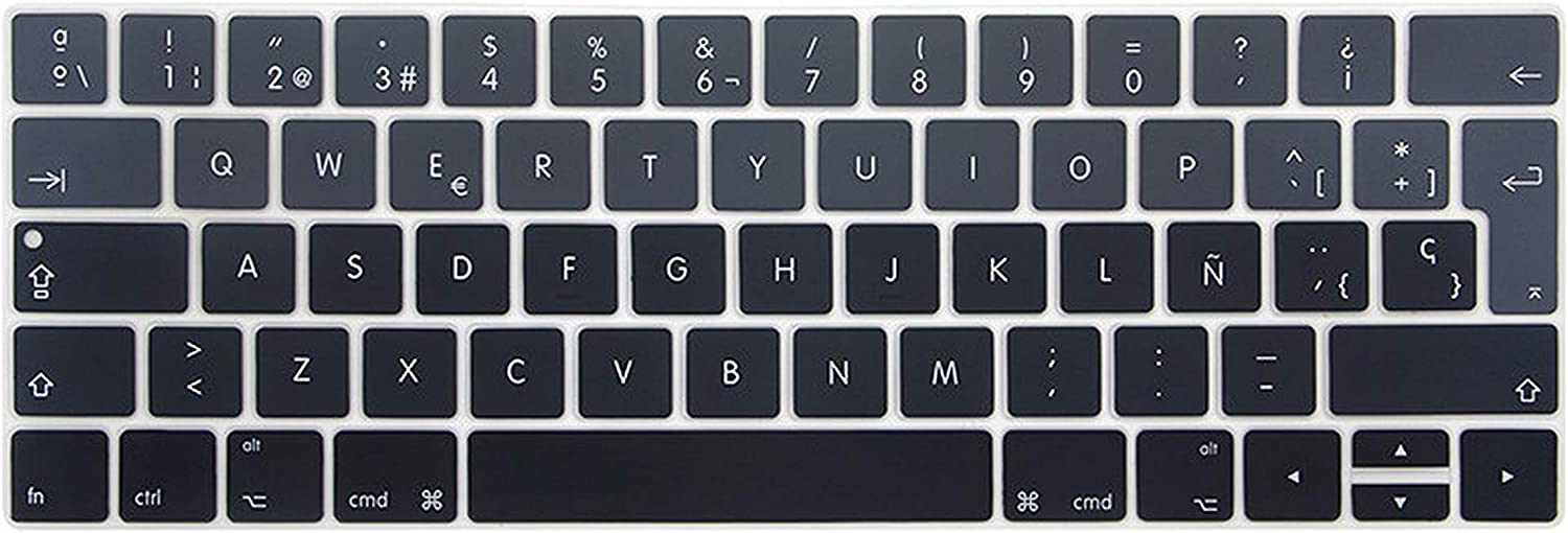 iwreuir Compatible for Gradient Color EU Layout Spanish Silicone Keyboard Cover Skin for MacBook Pro Retina 13 15 with Touch Id and Touch Bar,17