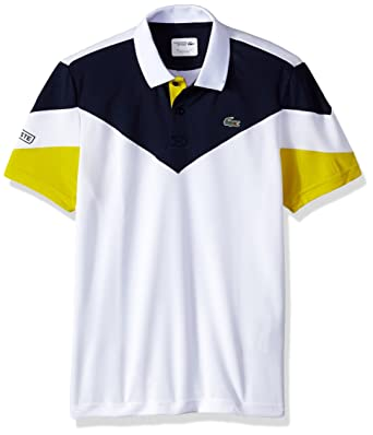 ec33a3711 Lacoste Men's Tennis Short Sleeve Ultra Dry Chevron Colorblock Polo,  White/Navy Blue/soda Yellow Small at Amazon Men's Clothing store: