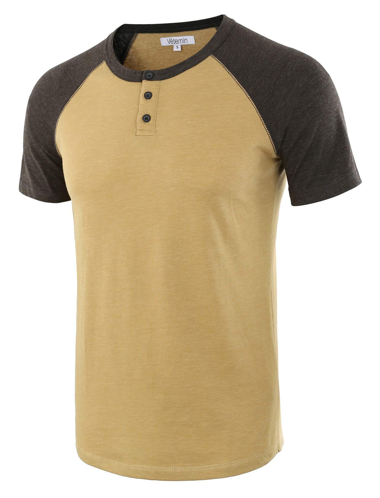 Vetemin Men's Casual Short Sleeve Raglan Henley T-Shirts Baseball Shirts Tee Khaki/H.Charcoal XL