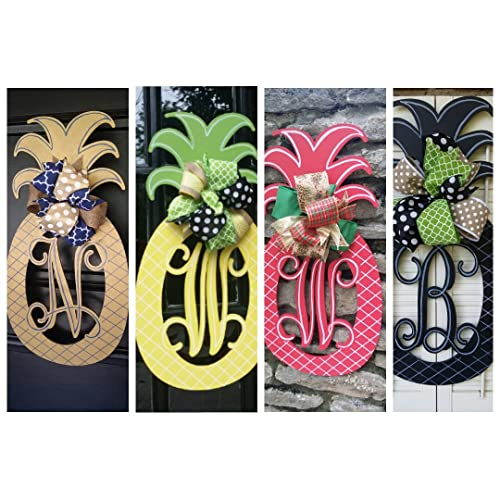 Custom Pineapple Monogram Door Hanger Summer Pineapple Decor Monogram  Pineapple Welcome Decor Pineapple Door Hanger Monogram