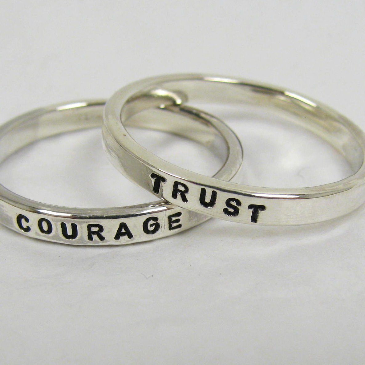 Personalized Sterling Silver Stacking Rings, Custom Names, Dates, Message Stackable Rings, Set of 2 - 2.4 mm wide each.