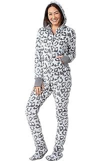 Amazon.com  PajamaGram Hoodie-Footie Nordic Fleece Women s Onesie ... ca21ba0c81
