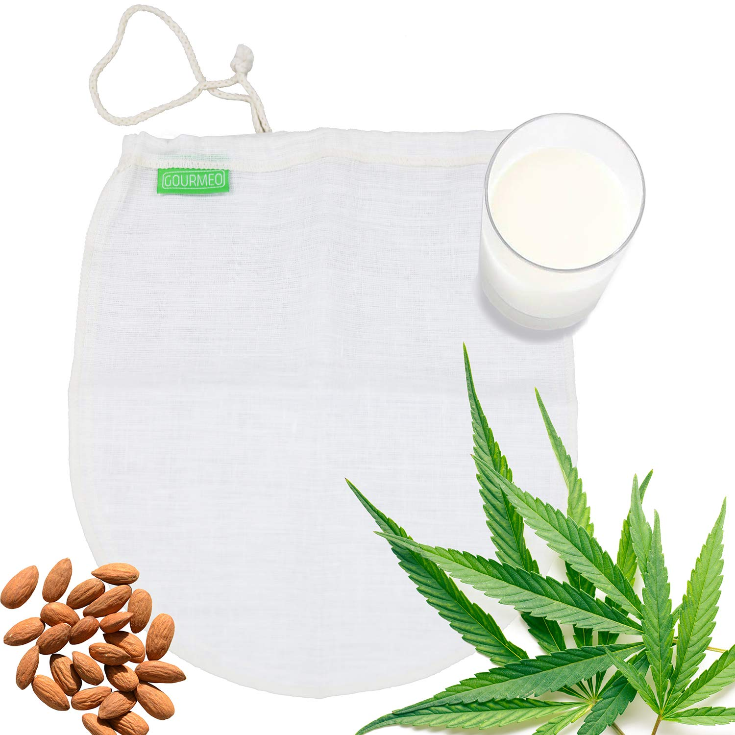 GOURMEO Hemp Nut Milk Bag, reusable, for smooth filtration and production of nut milk, fruit and vegetable juices | hemp mesh filter bag, food strainer, filtration straining cloth eSpring GmbH