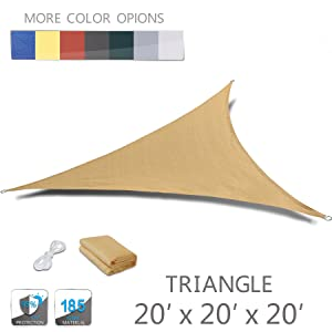LOVE STORY 20' x 20' x 20' Triangle Sand Sun Shade Sail Canopy UV Block Awning for Outdoor Patio Garden Backyard