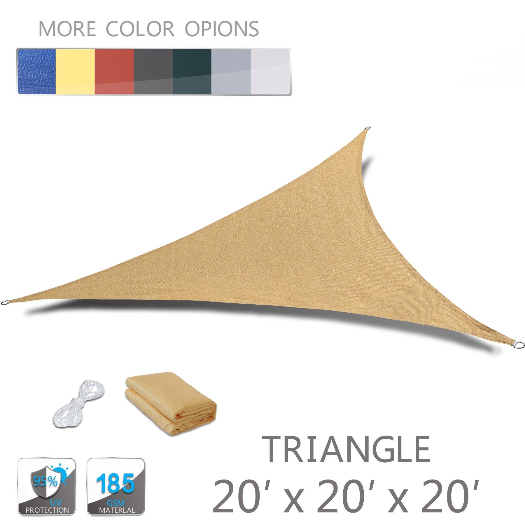 Love Story 20' x 20' x 20' Triangle Sand UV Block Sun Shade Sail Perfect for Outdoor Patio Garden